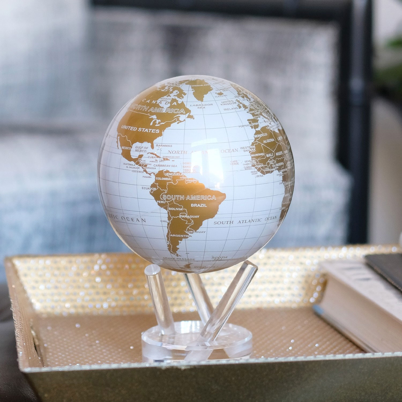 White and Gold Mova Globe